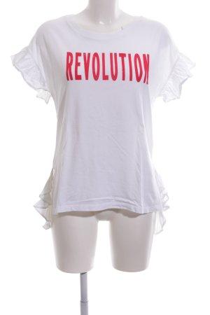 Rich & Royal T-Shirt weiß-rot Schriftzug gedruckt Casual-Look
