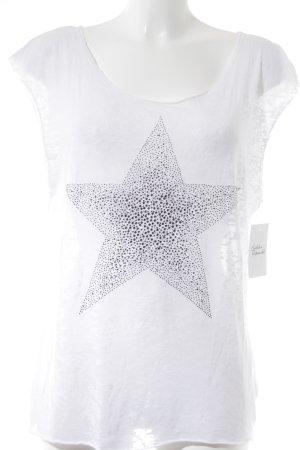 Rich & Royal T-Shirt weiß-silberfarben Logoprägung