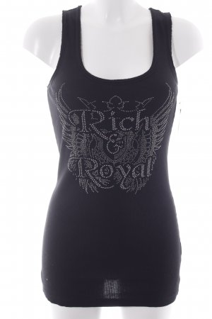 Rich & Royal Tanktop schwarz Motivdruck Casual-Look