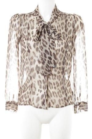 Rich & Royal Transparenz-Bluse braun-wollweiß Leomuster Elegant
