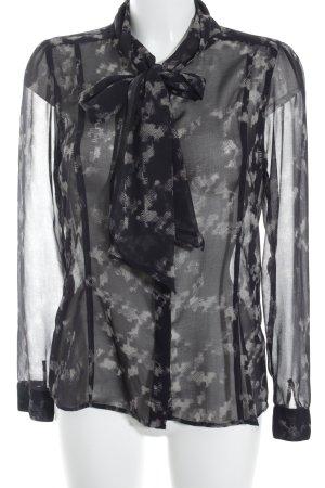 Rich & Royal Transparenz-Bluse schwarz-beige abstraktes Muster Elegant