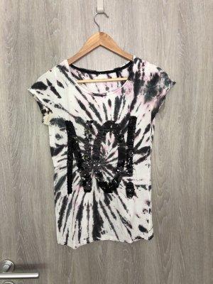 Rich Royal | Tshirt | weiß pink schwarz | Pailletten | Größe XS