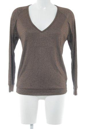Rich & Royal T-shirt col en V brun foncé-bronze pailleté