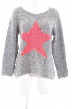 Rich & Royal Wollpullover hellgrau-neonpink Sternenmuster Casual-Look