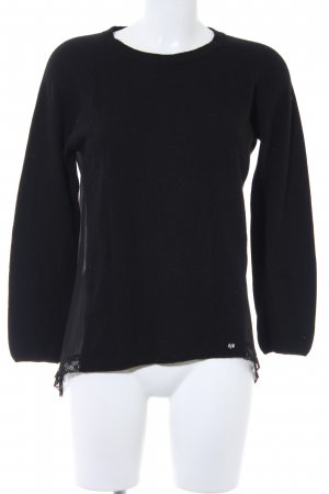 Rich & Royal Wollpullover schwarz Spitzen-Optik