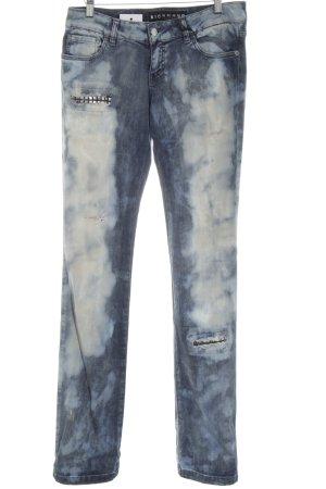 Richmond Skinny Jeans blau-weiß abstraktes Muster Casual-Look