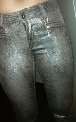 Rick Cardona 7/8 Hose - braun grau metallic silber 34 - NEU