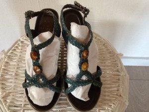 Akira Wedge Sandals steel blue-slate-gray leather
