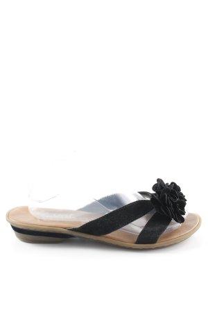bieten viel genießen Sie besten Preis tolle sorten Rieker Absatz Pantoletten schwarz florales Muster Casual-Look