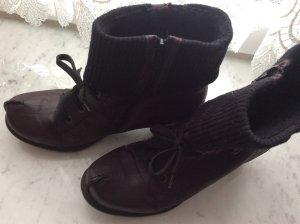 Rieker echt Leder Schuhe dunkelbordeaux/lila in 39