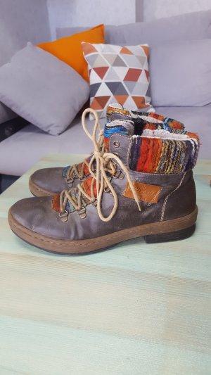 Rieker Gr 41 Stiefel Boots Stiefeletten bunt warm Winter