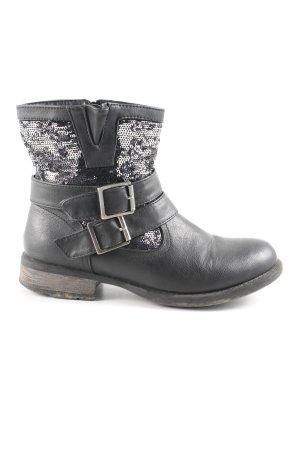 Rieker Halfhoge laarzen zwart-zilver Biker-look