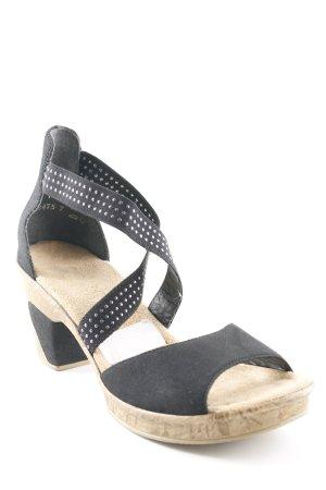 Rieker Plateau-Sandalen schwarz-hellbeige schlichter Stil
