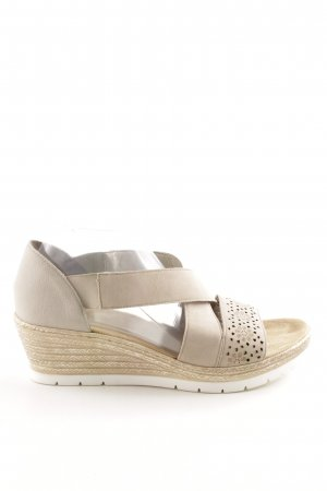Rieker Platform High-Heeled Sandal natural white flower pattern