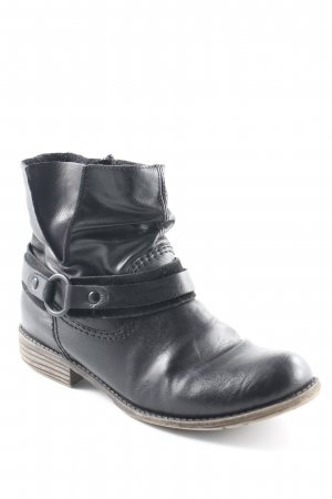 Rieker Reißverschluss-Stiefeletten schwarz Biker-Look
