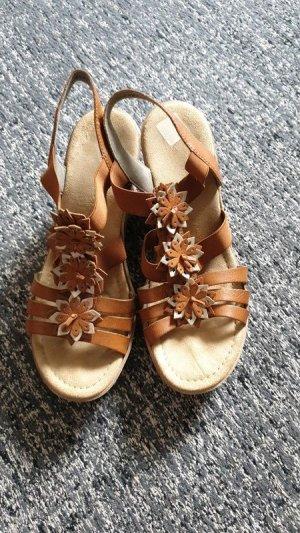 Rieker Sandales à talons hauts et plateforme bronze-brun cuir