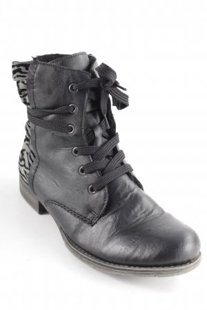 Rieker Lace-up Booties black-grey animal pattern casual look