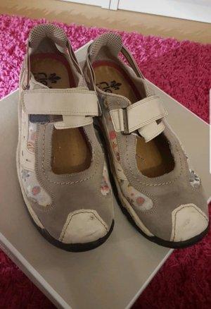 Rieker Schuh  40 grau/beige Blümchen