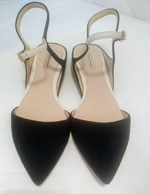 Emporio Armani Ballerines à lacets blanc-noir cuir