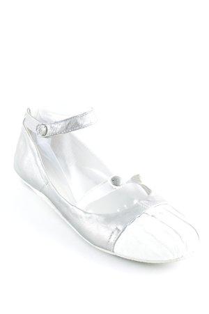 Ballerines à lacets argenté-blanc Aspect métallique