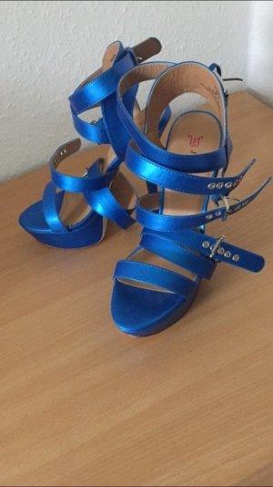 Riemchen High Heels in Blau