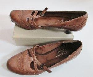 Riemchen Pumps Fashion Donna Größe 38 Braun Cognac Vintage Look Shabby Budapester Leder