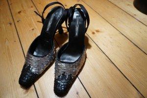 Riemchen Pumps Pailetten schwarz silber Größe 37 von Donna Christina