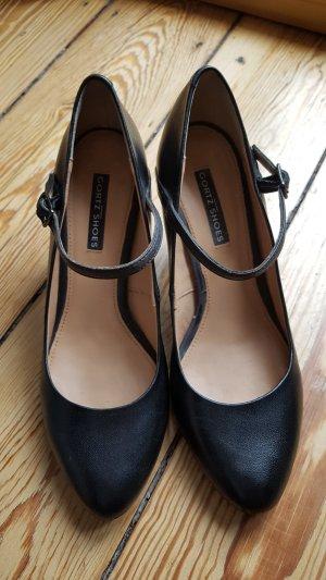 Riemchen Pumps Schuhe Görtz 38 Leder schwarz