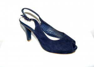 Minozzi Milano Strapped High-Heeled Sandals dark blue leather
