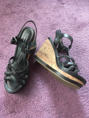 5th Avenue Platform High-Heeled Sandal black leather