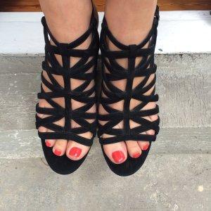 *Riemchen* Sandale schwarz Blockabsatz Gladiatorstyle