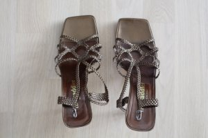 Sandalen met bandjes brons Leer