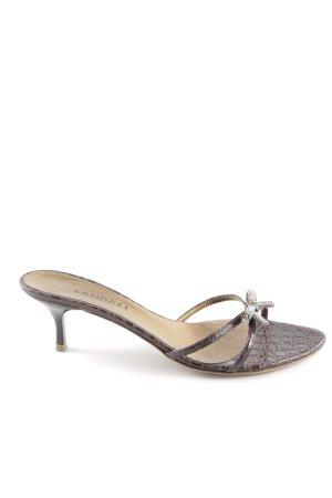 Sandalias de tiras marrón oscuro-turquesa estampado de reptil