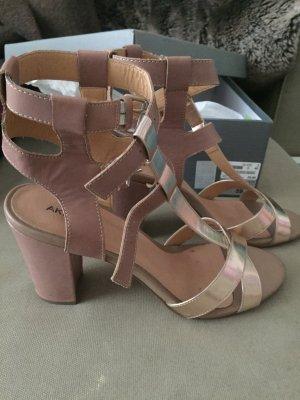 Riemchen Sandalen mit Absatz in Rose und Silber