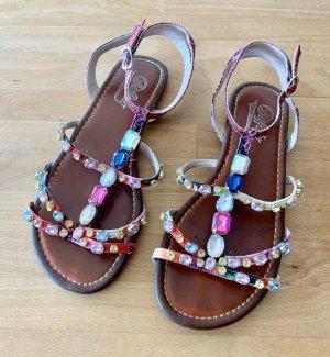 Riemchen-Sandalen mit bunten Steinen von Buffalo