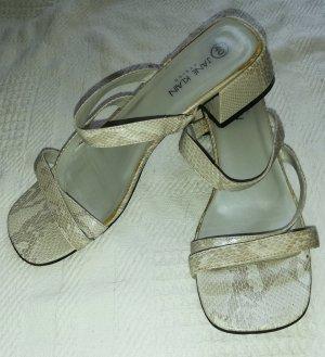 Jane Klain Strapped High-Heeled Sandals oatmeal-light grey