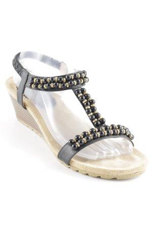 Riemchen-Sandalen schwarz-beige Casual-Look