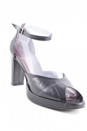 Riemchen-Sandalen schwarz-dunkelviolett Business-Look