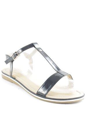 Riemchen-Sandalen schwarz-hellbraun klassischer Stil