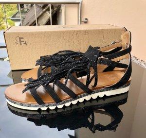 Riemchen-Sandalen, Velourleder, schwarz, Größe 39