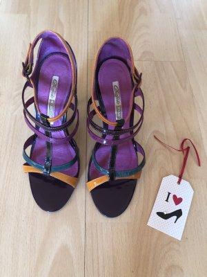 Buffalo London Sandalias de tacón de tiras multicolor Cuero