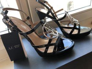 Armani Jeans Sandalias de tacón de tiras negro