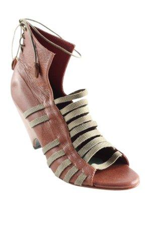 Riemchen-Sandaletten braun-grüngrau Animal-Look