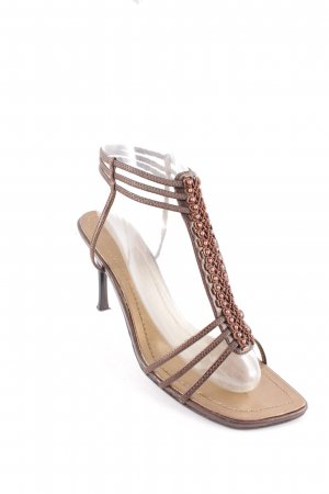 Strapped High-Heeled Sandals dark brown-bronze-colored extravagant style