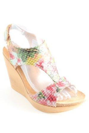 Sandalo con cinturino e tacco alto motivo floreale stampa rettile