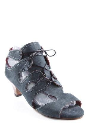 Sandalias de tacón de tiras gris pizarra-azul oscuro elegante