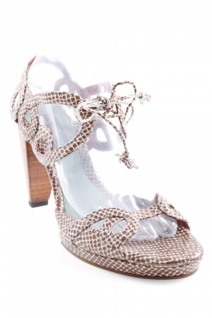 Strapped High-Heeled Sandals light brown-cream animal pattern