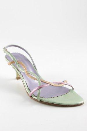 Sandales à talons hauts et lanière multicolore style mouillé