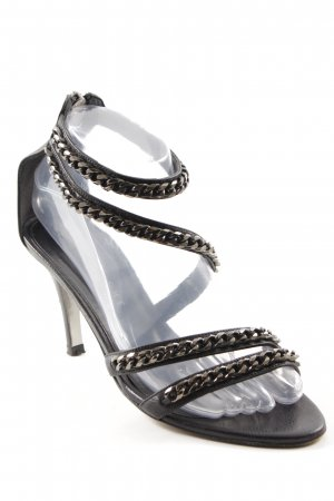 Strapped High-Heeled Sandals black elegant