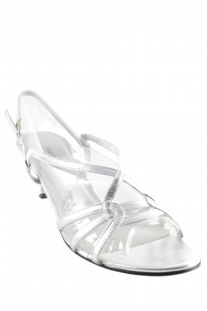 Strapped High-Heeled Sandals silver-colored elegant